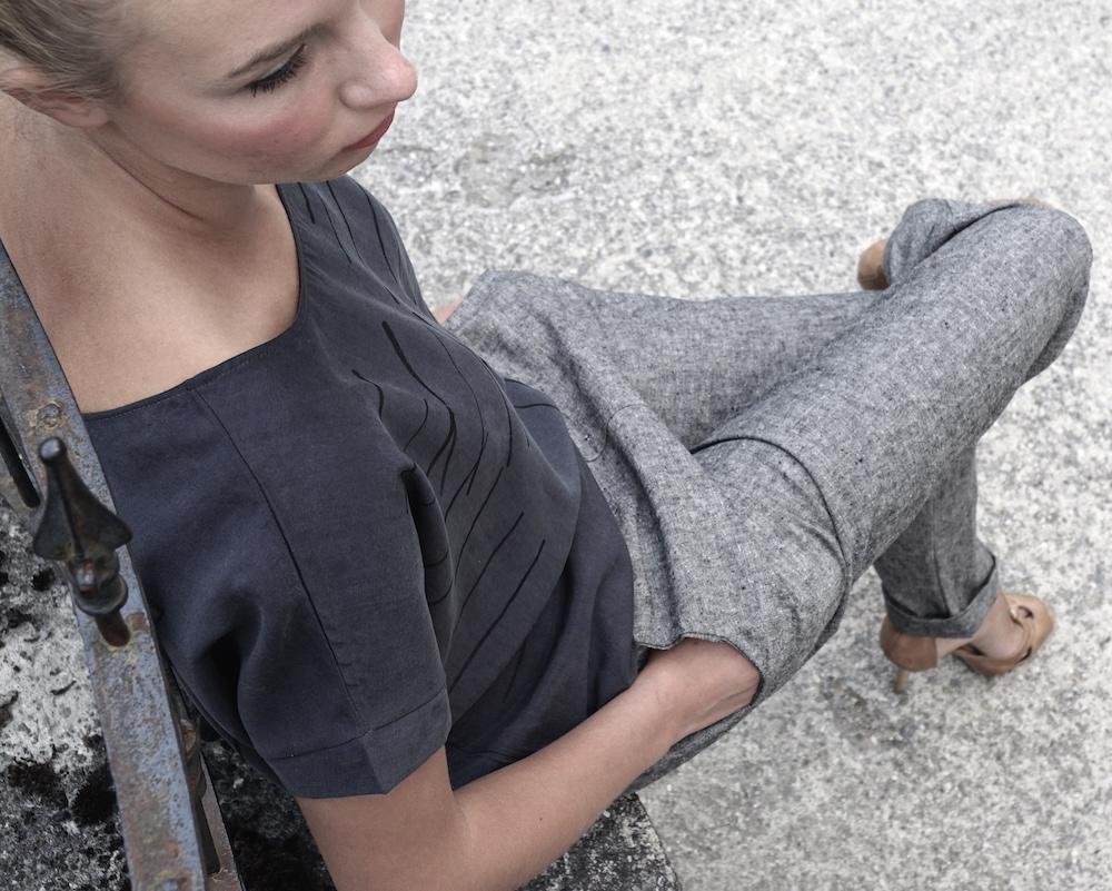 organic cotton/linen pants tencel printed top