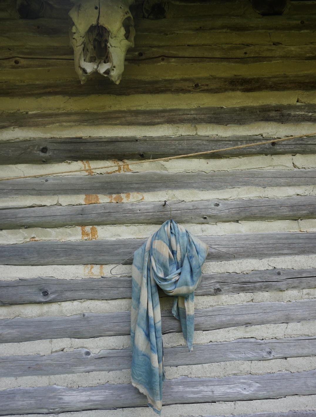 Indigo and tea dyed silk wool shibori scarf